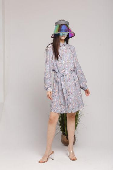 Платье-рубашка DERBY из вискозы, с поясом. Рукав трансформируется в 3/4.