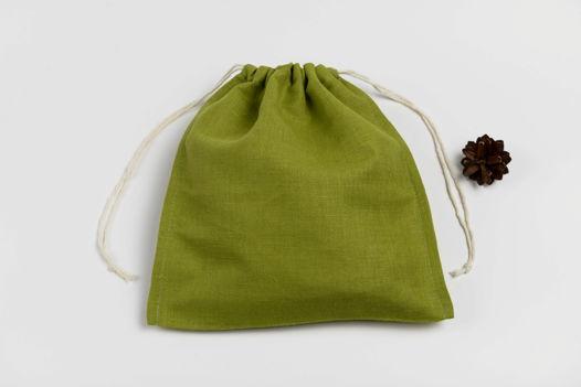 Мешок из плотного зеленого льна