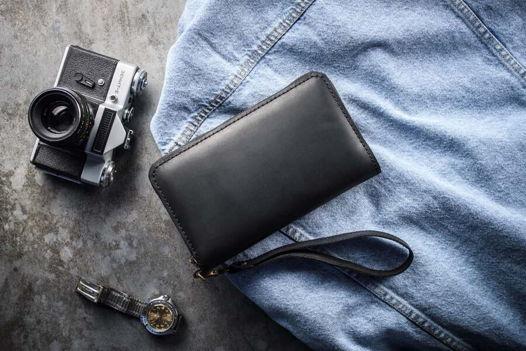 Мужской кожаный клатч из натуральной кожи -BIGWIG- цвет Черный Уголь