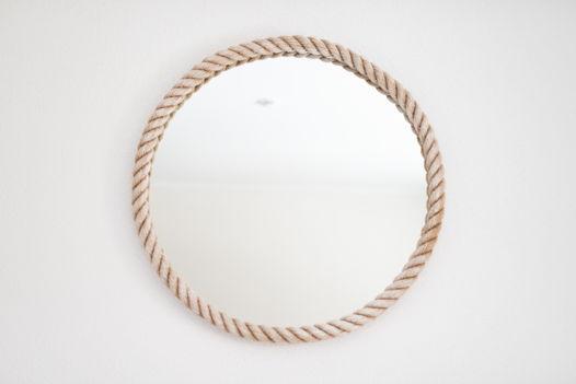 Круглое зеркало в белой джутовой раме, Ø75 см