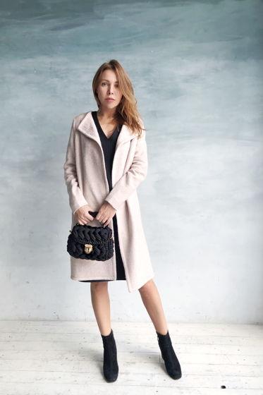 Шерстяное пальто в цвете пыльной розы