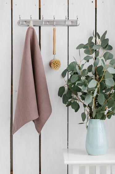 Полотенце для кухни из умягченного льна цвета пыльная роза