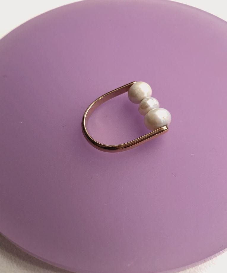 Золотое кольцо c жемчугом Hanami Dango Golg