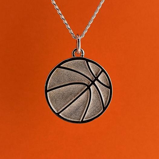 Серебряная подвеска Мяч для баскетболиста