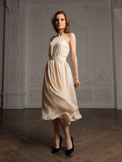 Платье Робби из натурального шелка светло бежевое