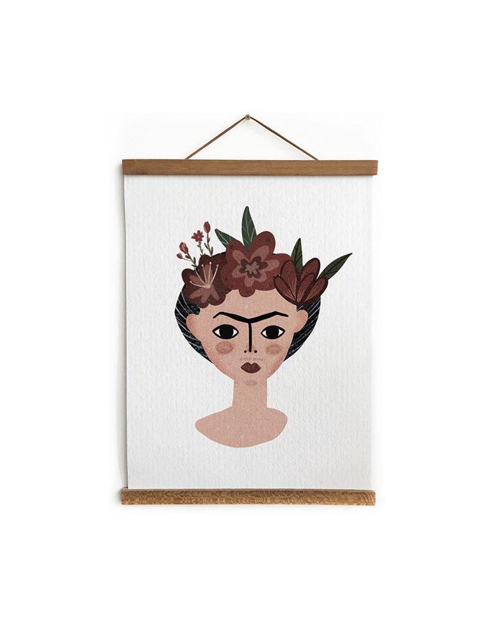 Постер Фрида Кало, иллюстрация, портрет Фриды в цветах.