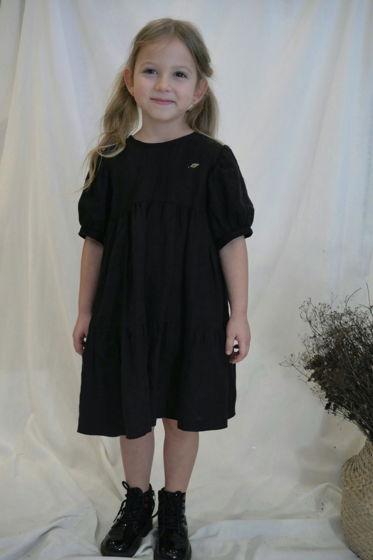 Льняное чёрное платье с бантиком на спинке