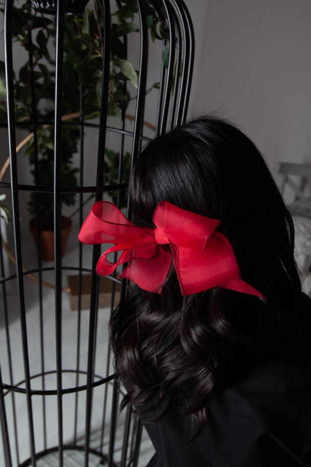 Бант-заколка из натурального шелка Элис, красный