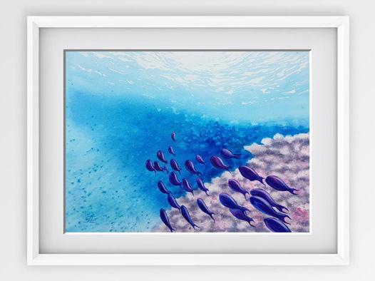 """Акварельная картина """"Под водой"""" (36 х 27 см)"""