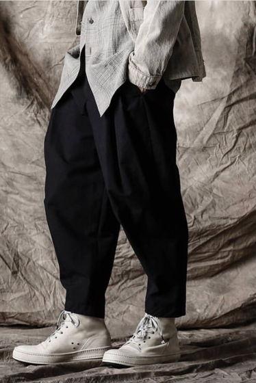 укороченные штаны с выточками шерсть/лен