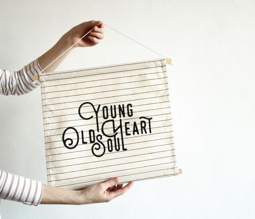 Текстильный постер Young heart Old soul