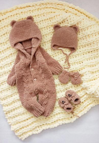 Комплект Мишка. Плед, комбинезон, пинетки, шапочка и рукавички .