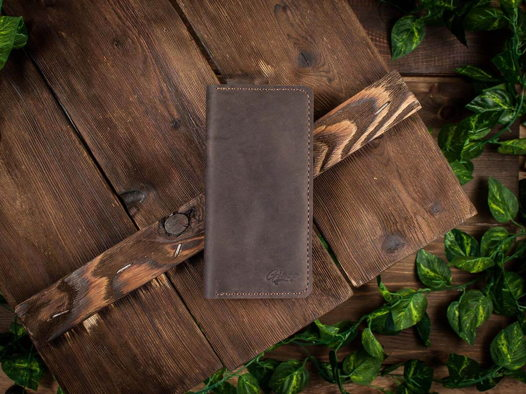 Вертикальное портмоне ручной работы -LONG ROAD- из натуральной кожи цвет Шоколад