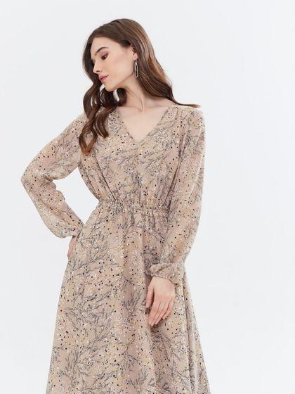 Платье шифоновое миди цветочный принт