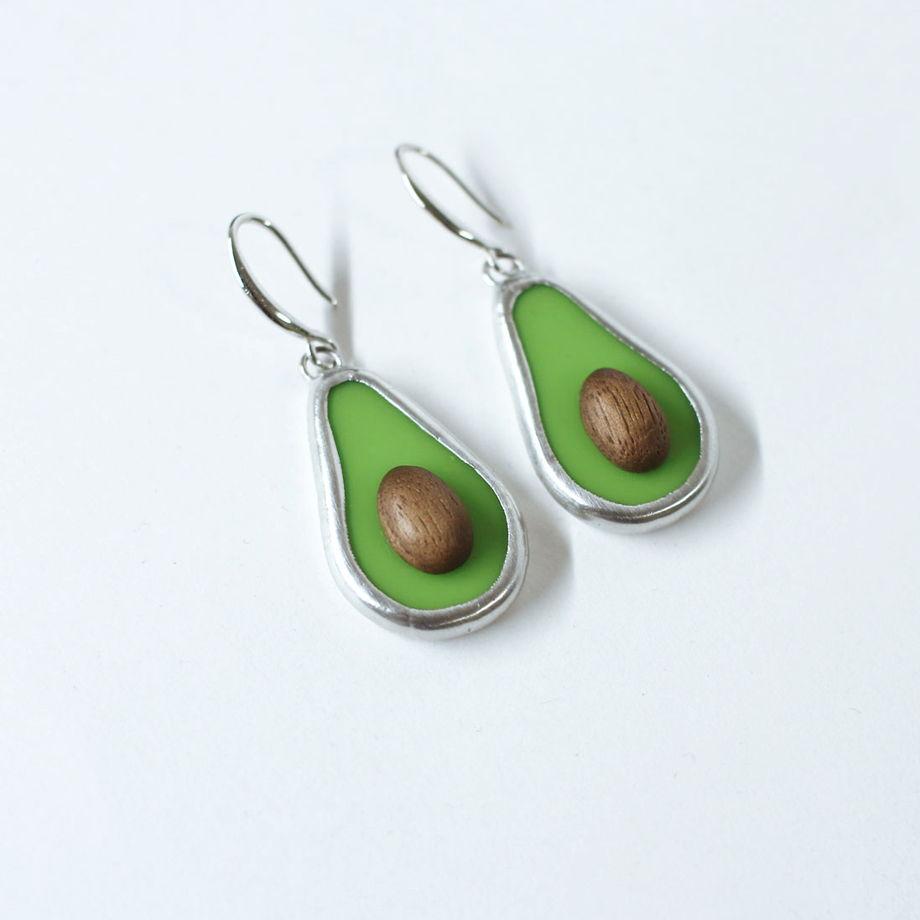 """Серьги """" Авокадо"""" из стекла и дерева"""