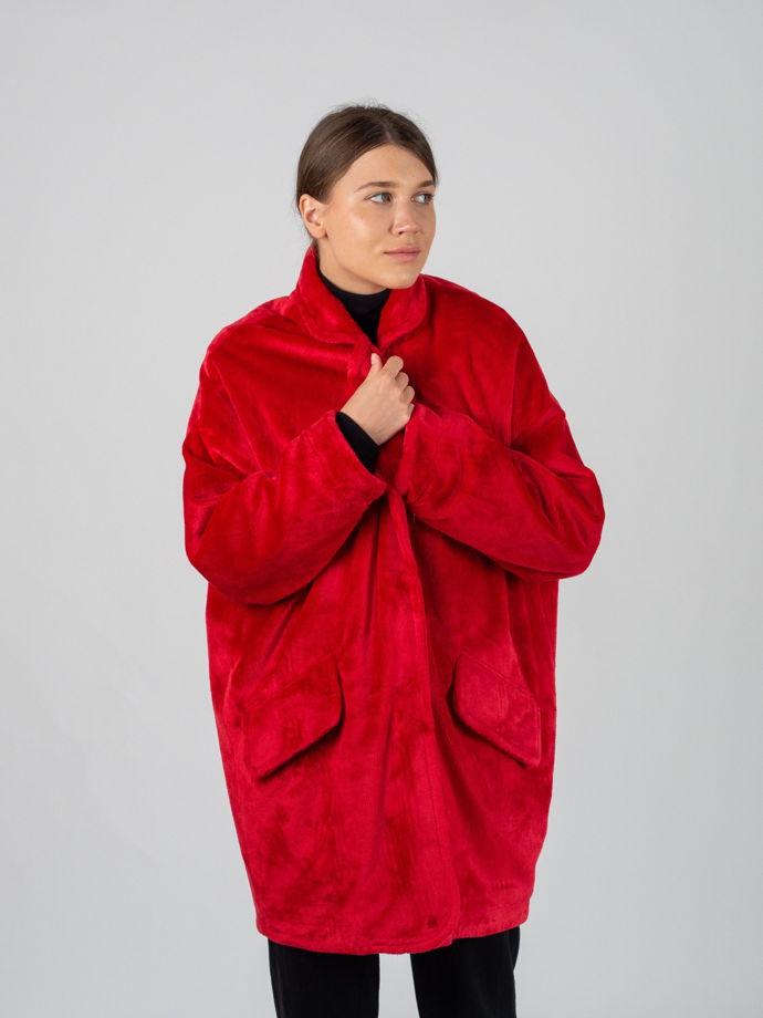 Пальто оверсайз из искусственного меха красное