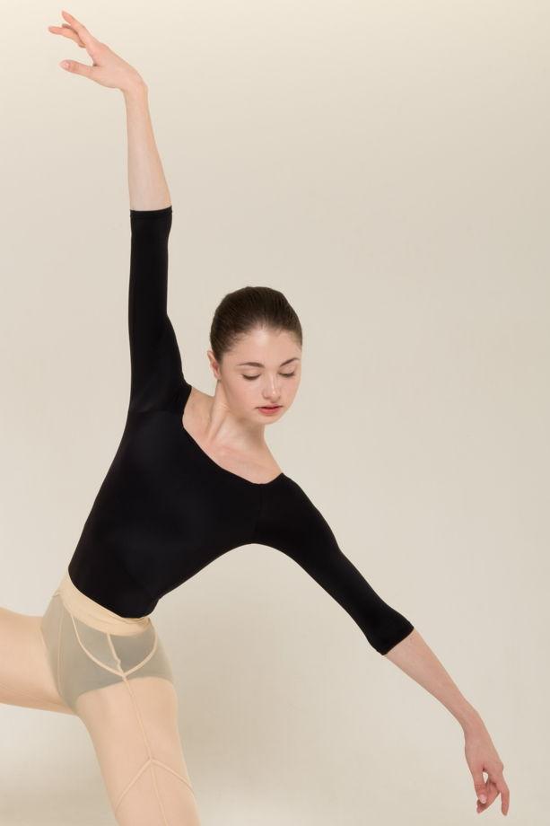 Купальник 2 Рукава | basic в телесном, сером и черном цвете  / боди для балета