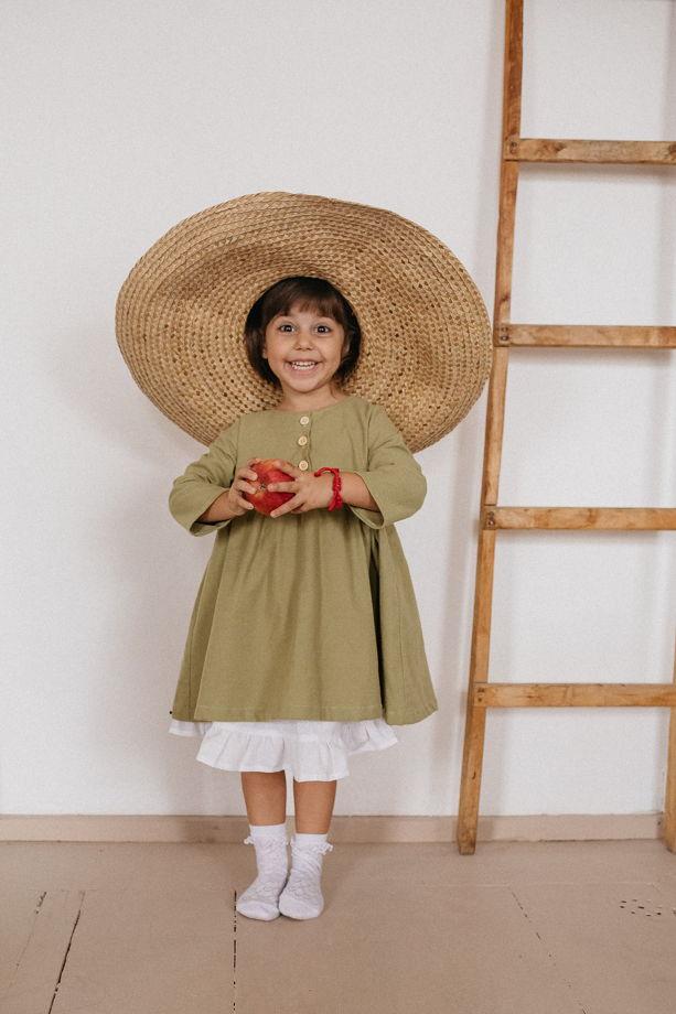 """Платье из хлопковой фланели со съемным подъюбником в цвете """"фисташка"""""""