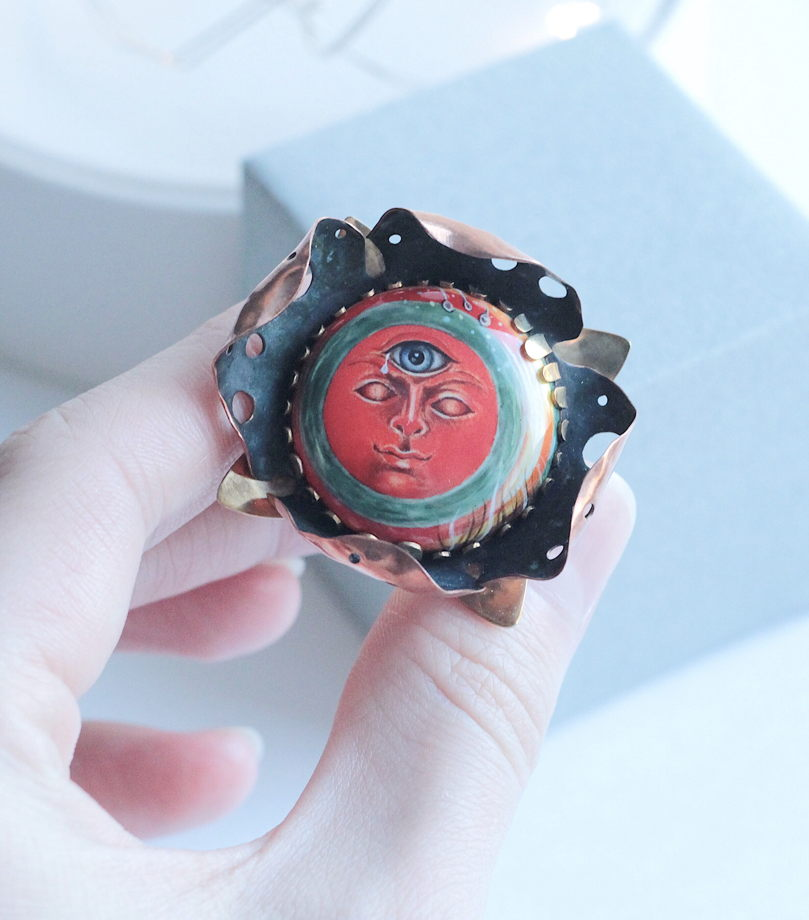 Кольцо с финифтью «Рождение Солнца»