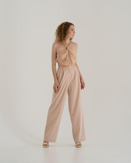 Бежевые брюки палаццо из костюмной ткани (подходят на осень, весну, лето)