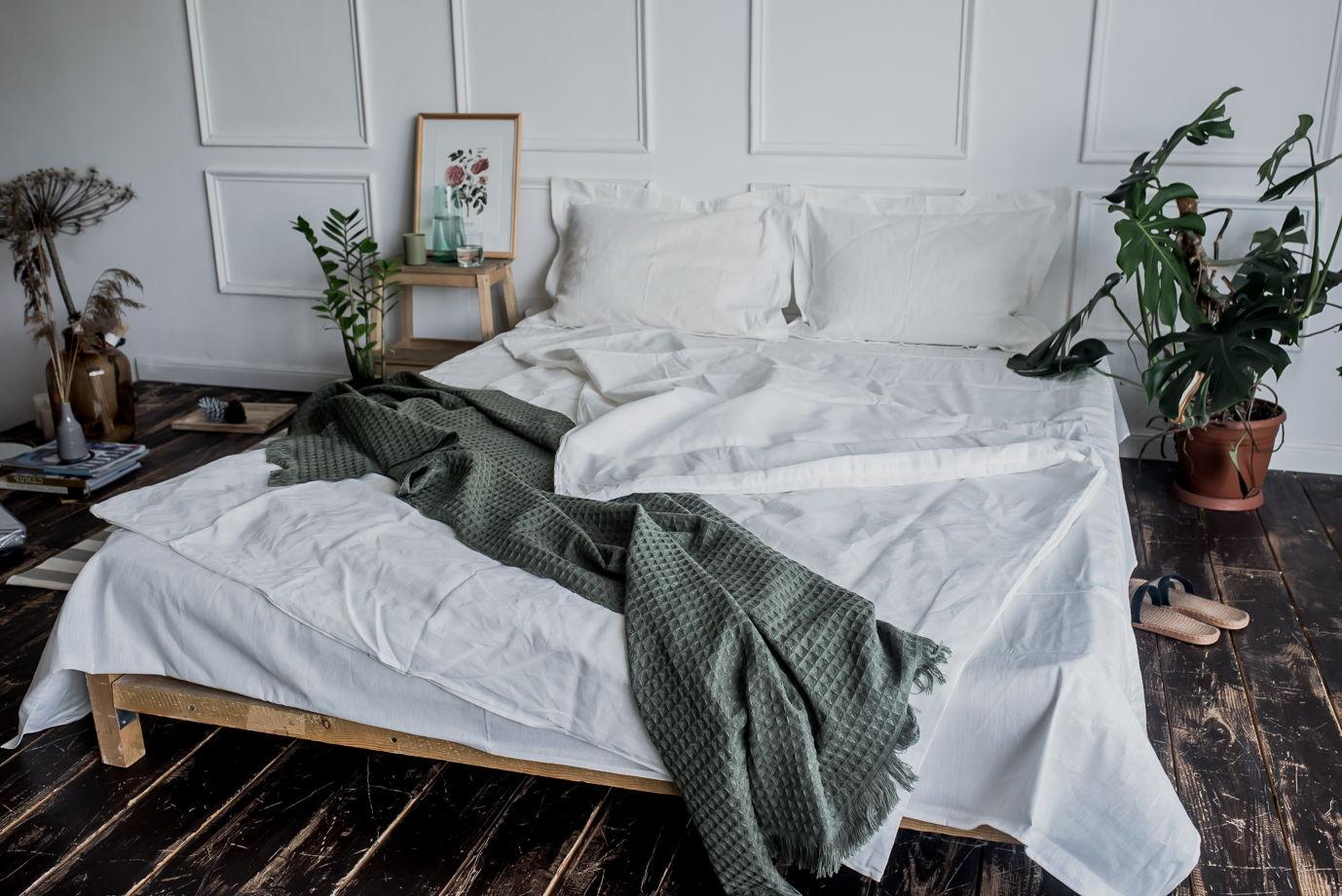 БЕЛЫЙ набор постельного белья из 100% льна 2СП, ЕВРО