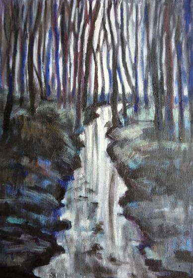 """""""Темный лес"""" картина маслом пейзаж с деревьями"""