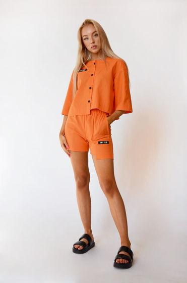 Льняной костюм ROYAL блуза и шорты в цвете апельсин