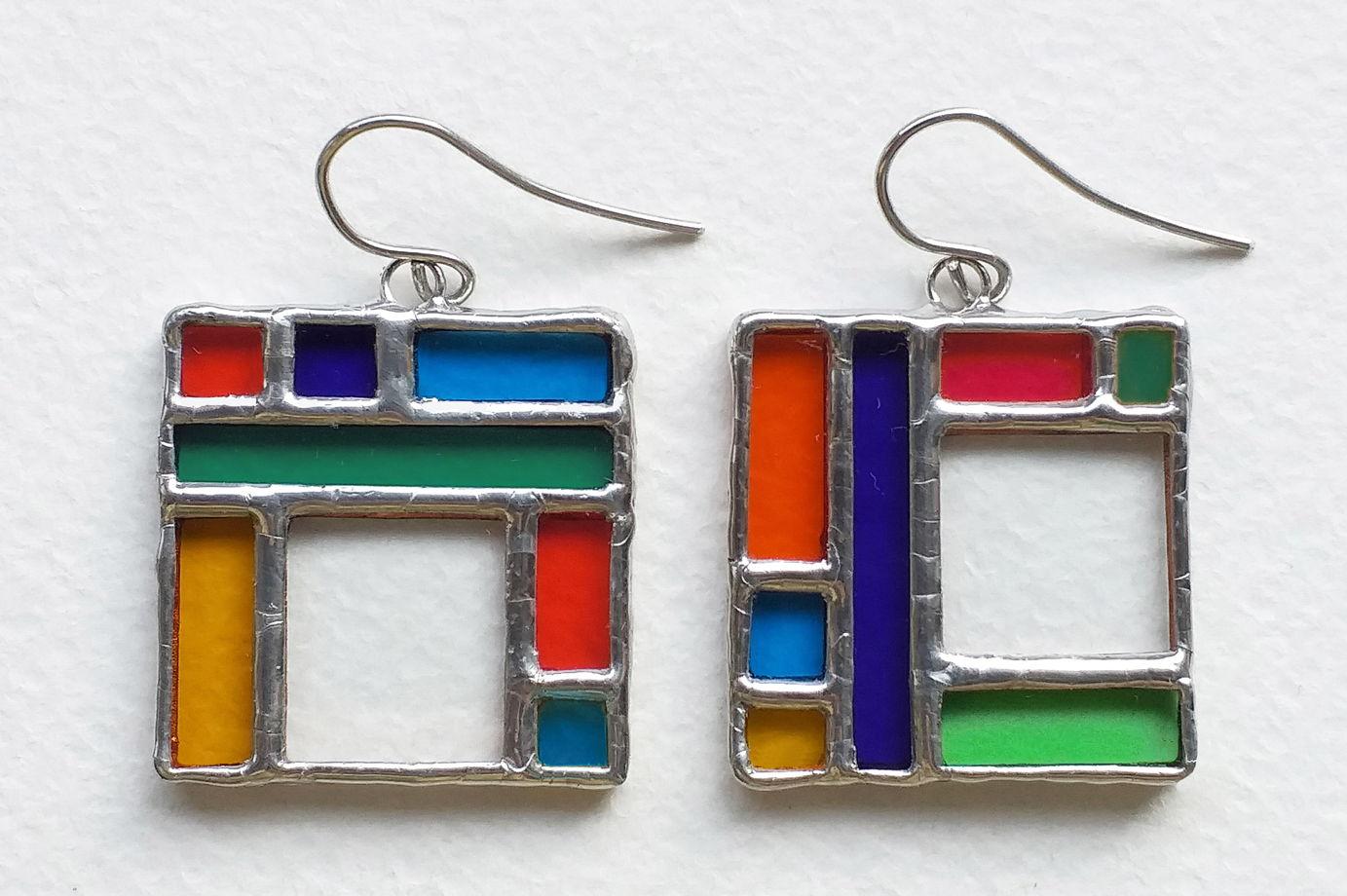 Серьги квадратные витражные разноцветные Вита