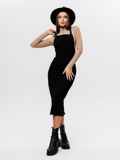 Сарафан платье футляр на бретелях с закрытой грудью / облегающий / молния сзади