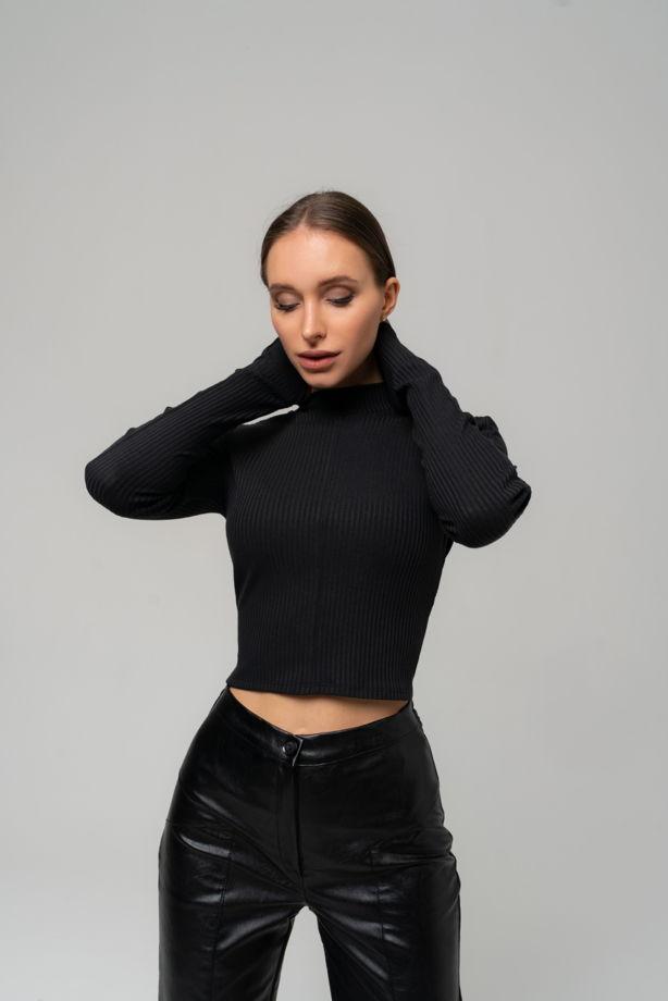 Кроп-топ в рубчик/Водолазка с пальчиками черный