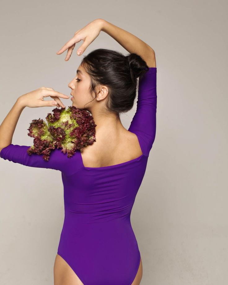 Купальник 2 Рукава colour   фиолетовый боди для балета / танцев