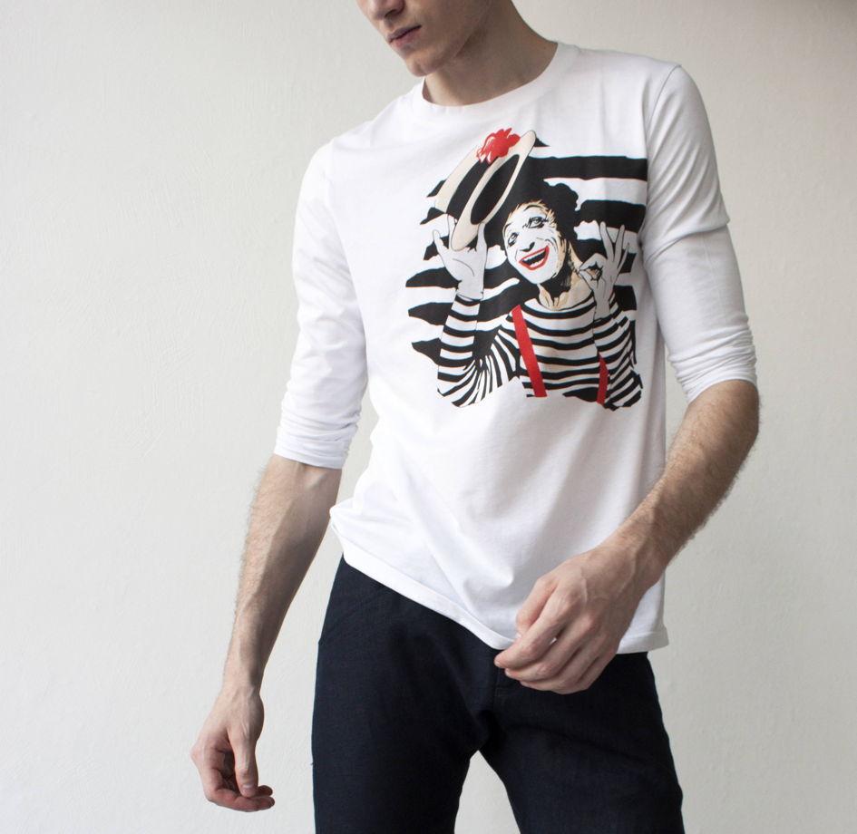 мужские  футболки светящиеся в темноте с принтом Marcel Marceau