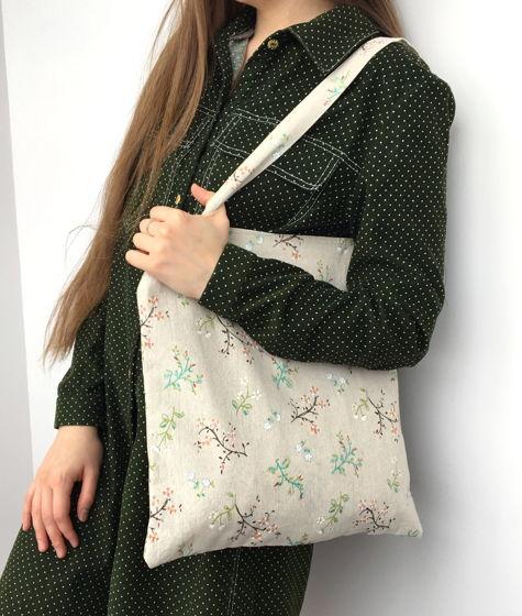 Льняная сумка шопер с принтом