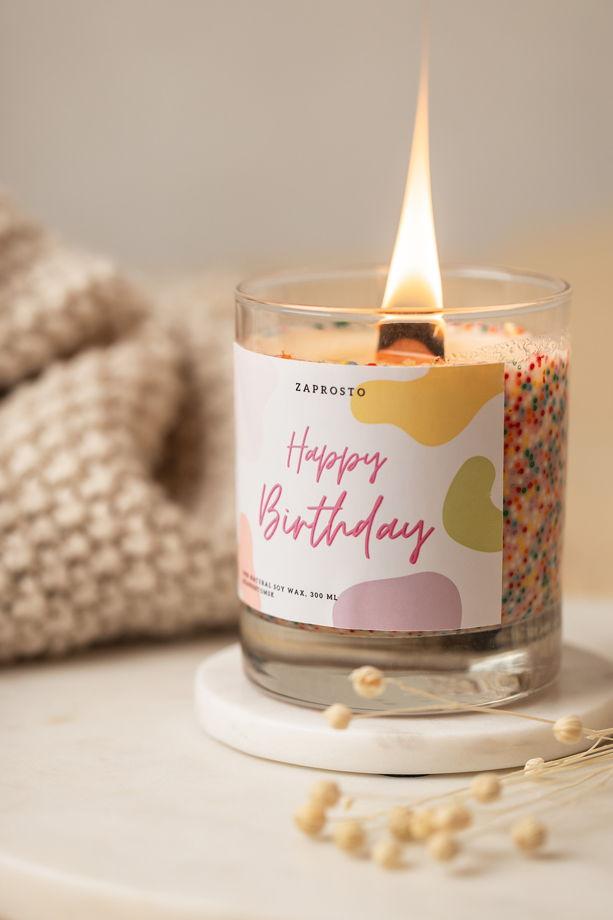 """Соевая свеча в стакане """"HAPPY BIRTHDAY"""""""
