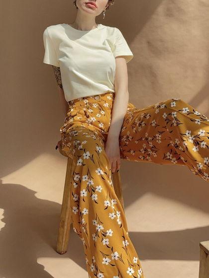 Женские легкие брюки с цветочным принтом