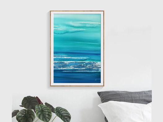 """Картина из авторской серии """"Морские сны - абстракция #2"""", размер: 37 х 55 см"""