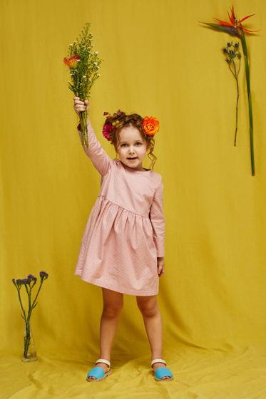 Платье для девочки Катенька (белый горох на розовом)