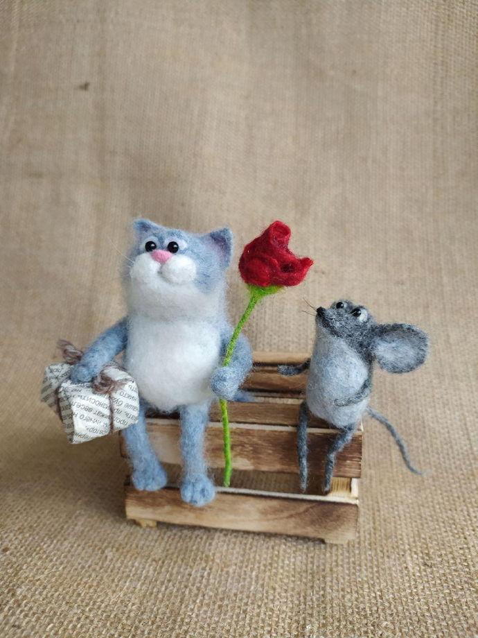 """Фигурки войлочные """"Кот и мышь"""""""
