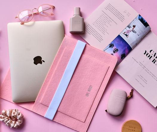 Чехол из фетра для MacBook и ноутбуков, розовый, горизонтальный с крышкой