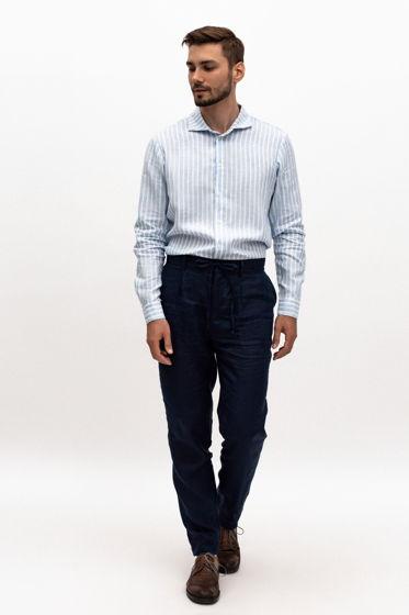 Льняные брюки в темно-синем цвете