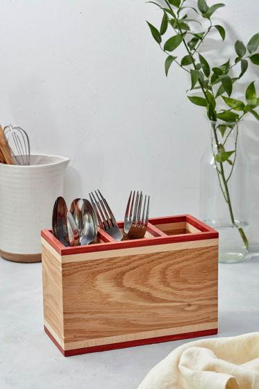 Подставка органайзер ручной работы деревянная для столовых приборов RökkRandig box