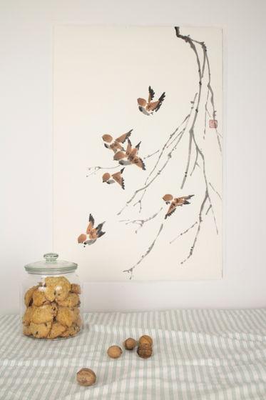 """""""Стайка воробьев"""", картина в традиционном китайском стиле се-и (68* 47 см)"""