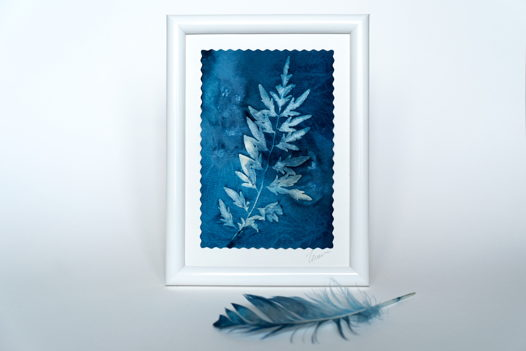 "Фотограмма ""Ажурный лист"" в технике   wet cyanotype"