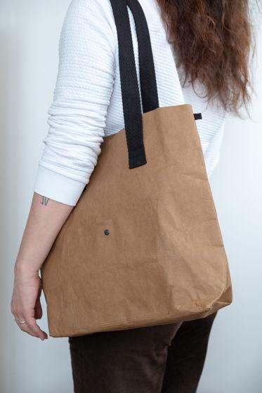 сумка шоппер из текстильного крафта, размер М, цвет карамель
