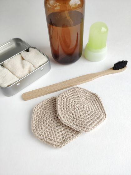 Набор бамбуковых многоразовых дисков для снятия макияжа 3 шт
