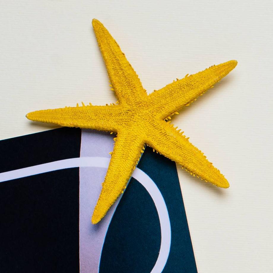 Магнитик с песочной звездой желтого цвета