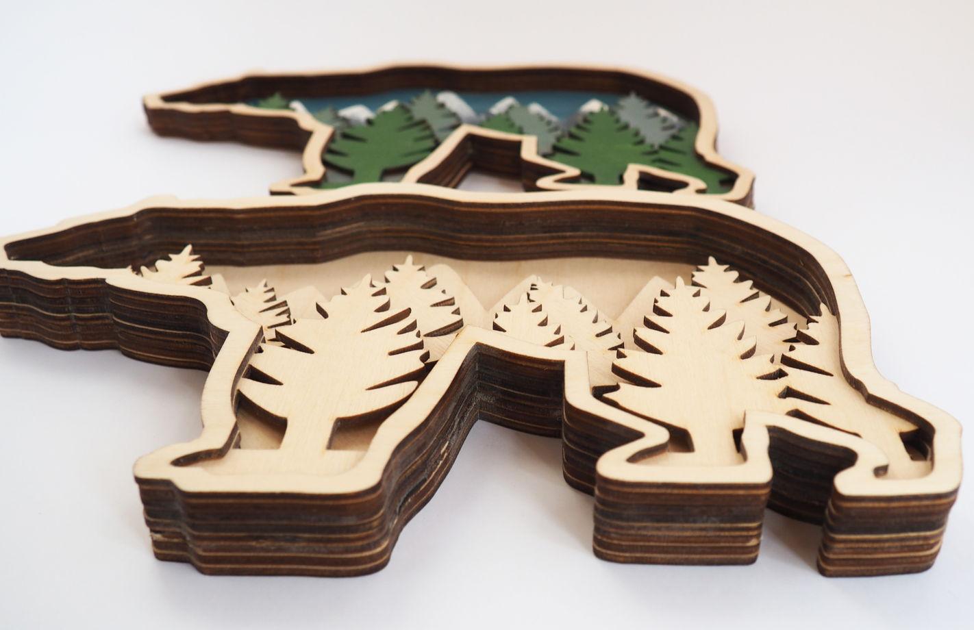 Набор для раскашивания. 3D картина на дереве. Медведь