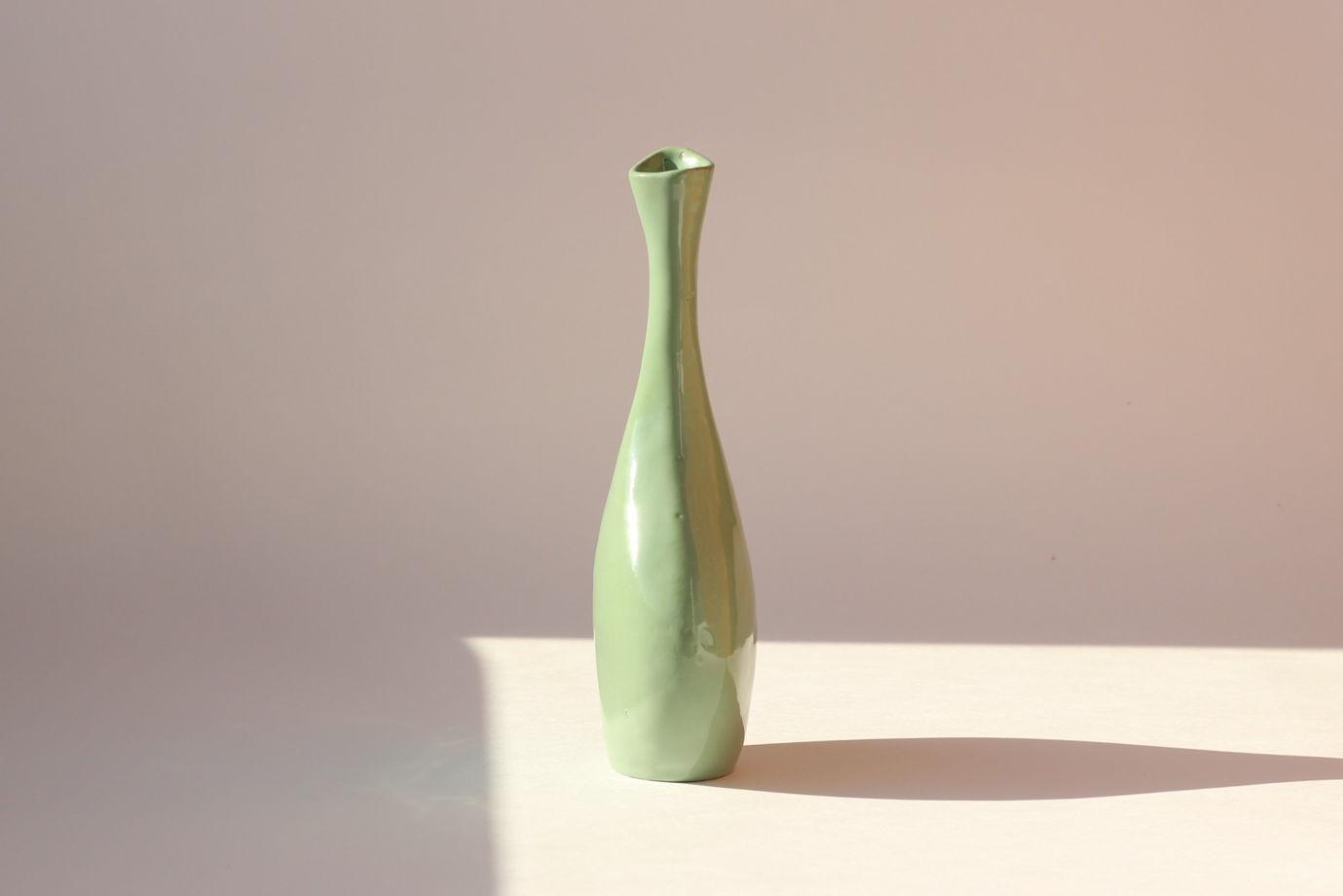 Ваза керамическая ручной работы зелёная