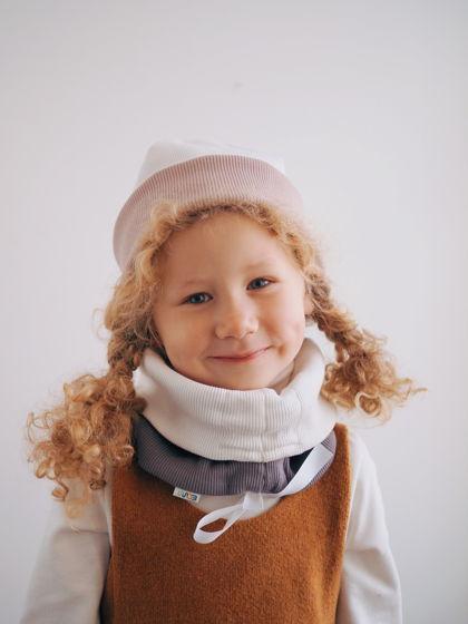 Детская базовая двухсторонняя шапочка из хлопка в рубчик