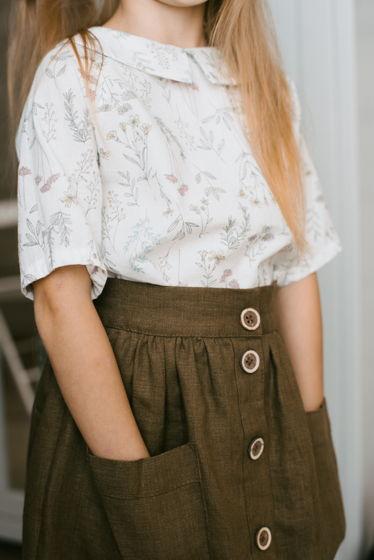 Базовая льняная юбка, со съемными лямками и накладными карманами